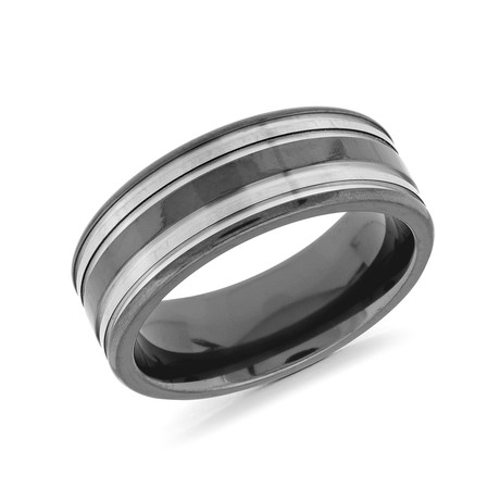 Two-Tone Brushed + Polished Lined Comfort Fit Ring (5)