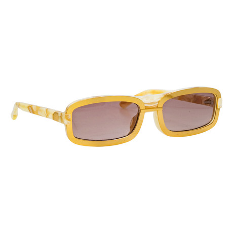 Y/Project // Unisex 6C1 Sunglasses // Marble + Yellow Gold + Brown
