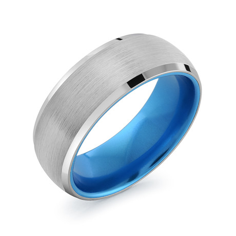 Brushed Ring // Silver + Blue (7)