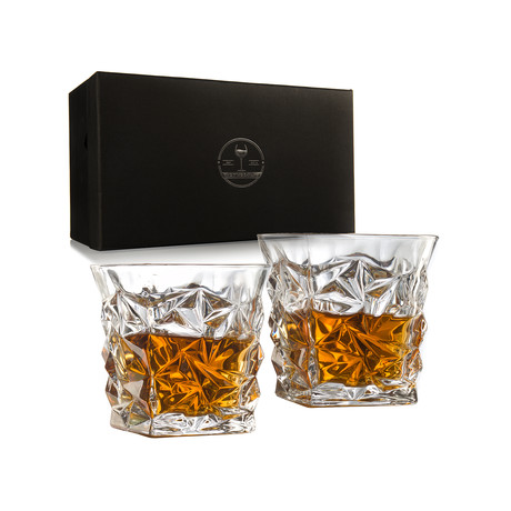 Diamond Luxury Elegant Whiskey Glasses // Set of 2 // 12 Oz.