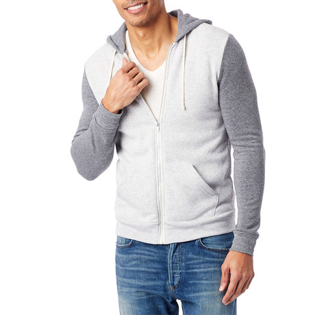 Rocky Color Blocked Zip Hoodie // Gray (S)