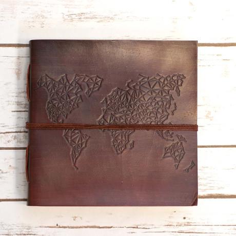 Handmade Leather Journal // World Map