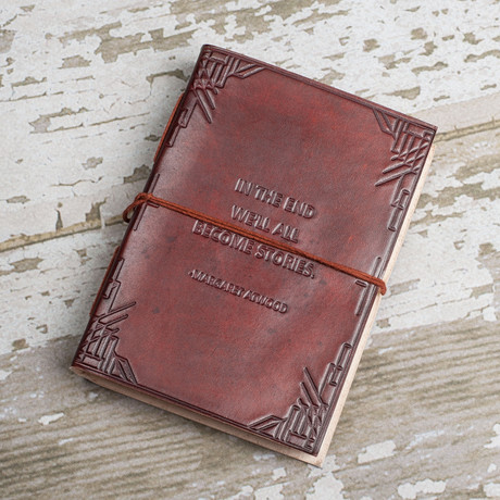 Handmade Leather Journal // We All Become Stories (Brown)