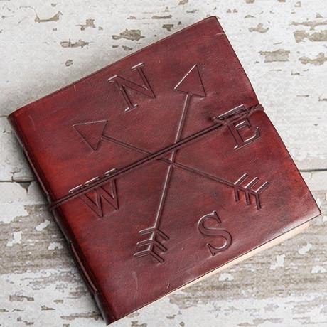 Handmade Leather Journal // Compass