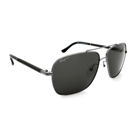Men's SF145SL-15 Aviator Square Sunglasses // Gunmetal Black + Gray