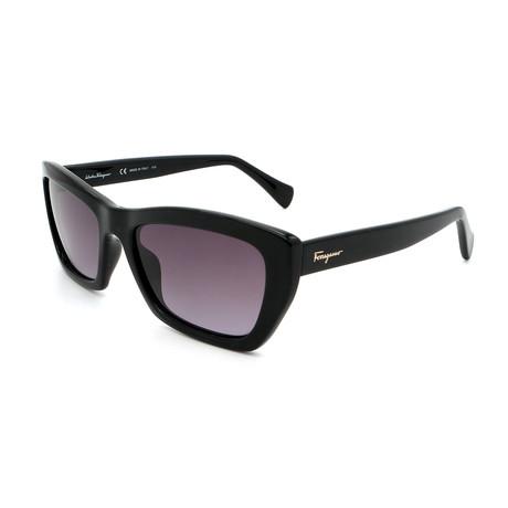 Women's SF958S-001 Cat Eye Sunglasses // Shiny Black + Gray Gradient