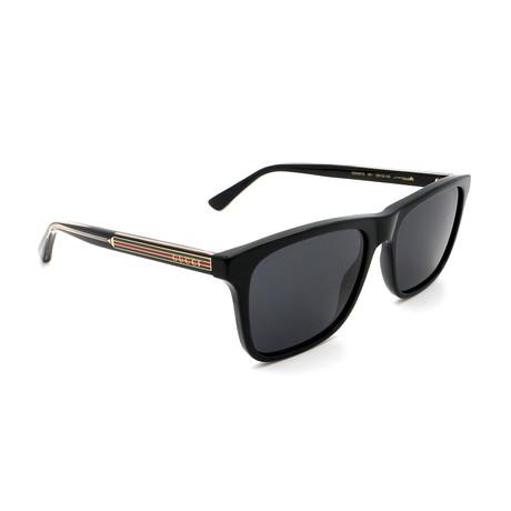 Men's GG0381S-001 Rectangular Sunglasses // Shiny Black + Gray