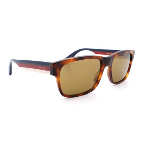 Men's GG0340S-005 Rectangular Sunglasses // Havana + Blue