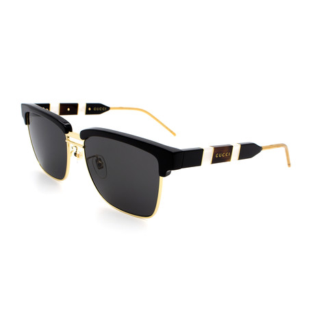 Men's GG0603S-001 Clubmaster Sunglasses // Shiny Black + Gold