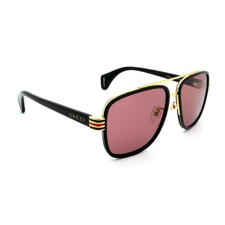 Men's GG0448S-003 Sunglasses // Black + Gold + Rose