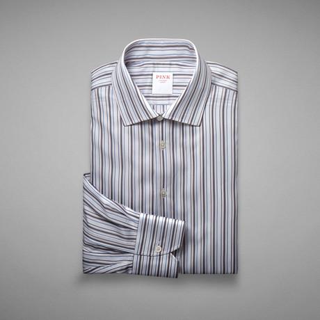 Piumino Twill Striped Shirt // Blue + Pink (US: 13L)