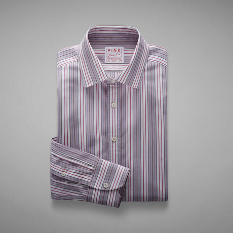 Wiltshire Double Striped Shirt // Pale Pink + White (US: 13L)