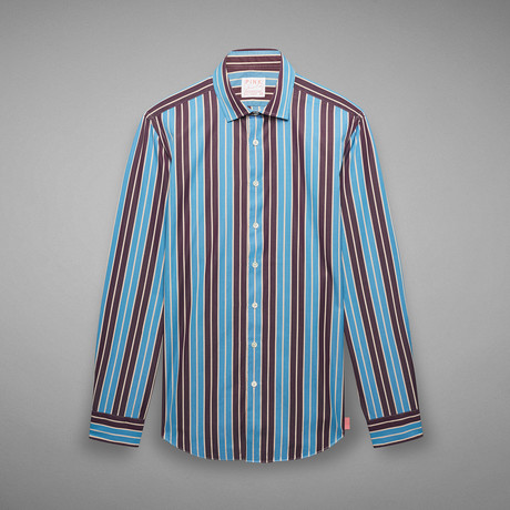 Archive Downing Striped Shirt // Blue + Purple (US: 17R)