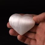 """Polished Natural """"Cat's Eye"""" Selenite Heart + Acrylic Display Stand"""
