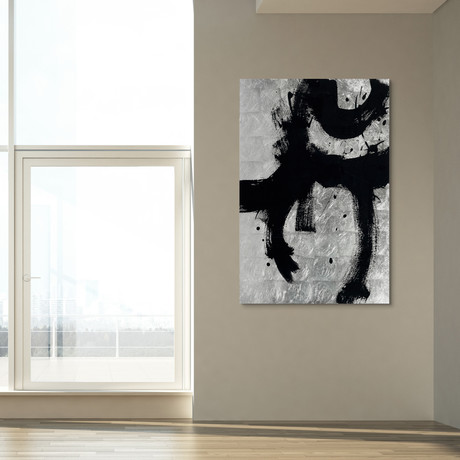 Onyx Gesture // Frameless Reverse Printed Tempered Art Glass with Silver Leaf (Onyx Gesture I)