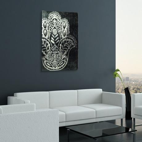 Night Hamsa // Frameless Reverse Printed Tempered Art Glass with Silver Leaf (Night Hamsa I)