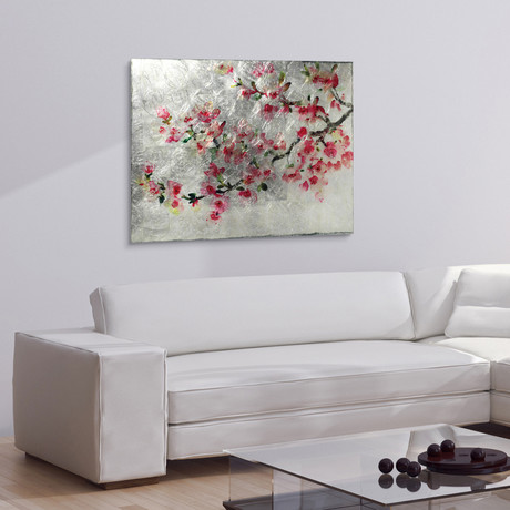 Cherry Blossom // Frameless Reverse Printed Tempered Art Glass with Silver Leaf (Cherry Blossom I)