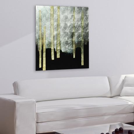 Gilt Treeline // Frameless Reverse Printed Tempered Art Glass with Silver Leaf (Gilt Treeline I)