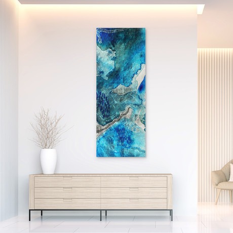 Subtle Blues // Frameless Reverse Printed Tempered Art Glass with Silver Leaf (Subtle Blues A)