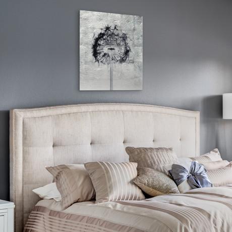Dandelion & Tulip // Frameless Reverse Printed Tempered Art Glass with Silver Leaf (Dandelion)