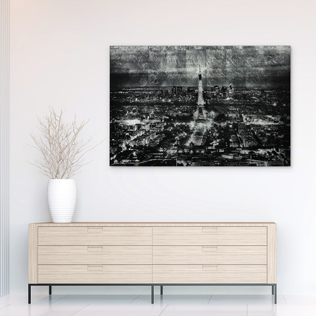 Paris at Night // Frameless Reverse Printed Tempered Art Glass with Silver Leaf