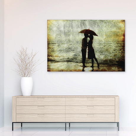 Goodbye Kiss // Frameless Reverse Printed Tempered Art Glass with Silver Leaf