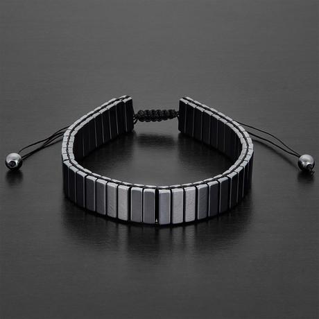 Hematite Adjustable Bracelet // Gray