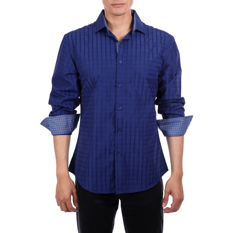 Malek Long-Sleeve Button-Up Shirt // Navy (S)