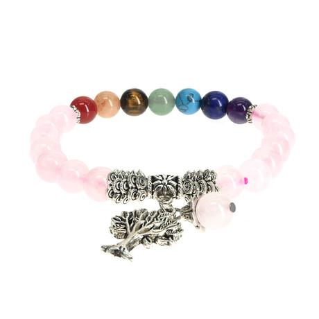 Jean Claude Jewelry // Quartz + Tree Of Life Bracelet // Pink + Multicolor