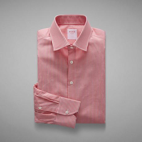 Zepherlino Striped Shirt // Deep Pink + White (US: 13L)