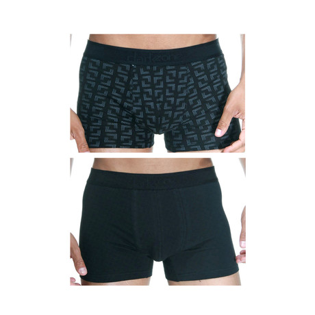 Geometric Boxer // Black // Pack of 2 (Small)