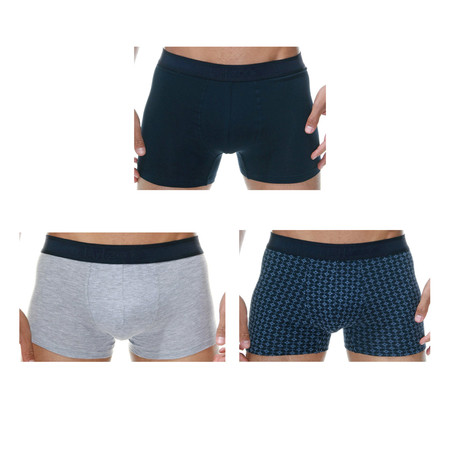 Geometric Boxer // Dark Blue + Gray // Pack of 3 (Small)