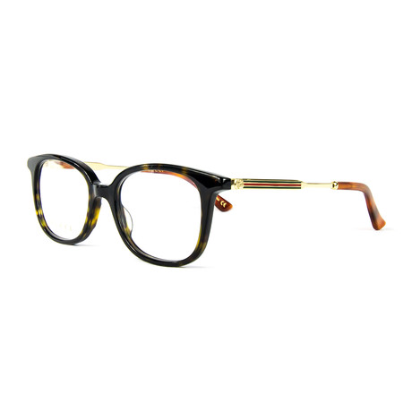 Unisex 0202O Rectangular Optical Frames // Havana + Gold