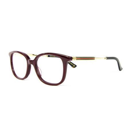 Unisex 0202O Rectangular Optical Frames // Burgundy + Gold
