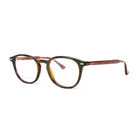 Unisex 0187O Round Optical Frames // Green + Brown