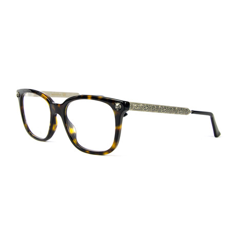 Unisex 0218O Rectangular Optical Frames // Havana + Silver