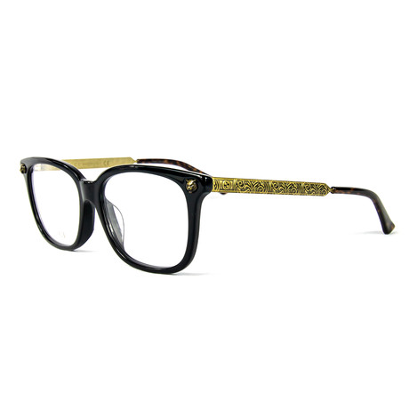 Women's 0218OA Rectangular Optical Frames // Black + Gold