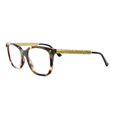 Women's 0218O004 Rectangular Optical Frames // Havana + Gold