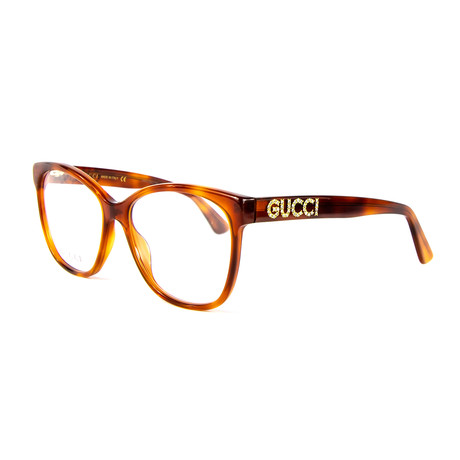 Women's 0421O 004 Rectangular Optical Frames // Havana