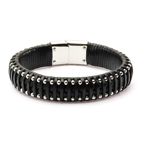 Leather + Steel Ball Edge Bracelet // Black