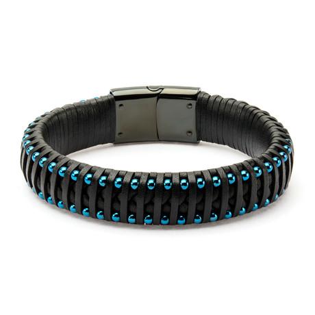 Leather + Ball Edge Bracelet // Black + Blue