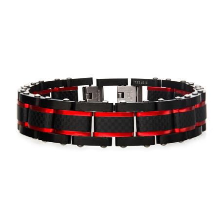 Dante Steel Matte Carbon Fiber + Link Sizeable Bracelet // Black + Red