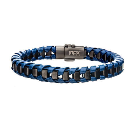 Leather + Plated Bracelet // Navy + Gun Metal