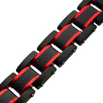 Dante Steel Matte Carbon Fiber + Link Sizeable Bracelet // Black + Red