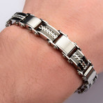 Double Sided Stainless Steel Plated Reversible Bracelet // Black