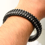 Leather + Steel Ball Edge Bracelet // Black