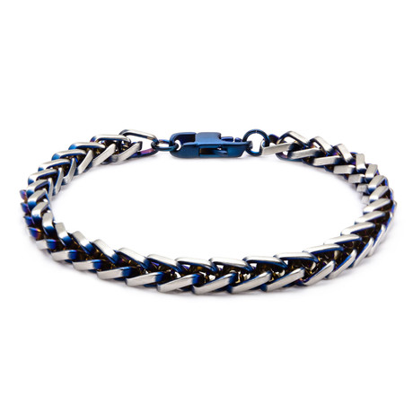 Steel Rounded Franco Chain Bracelet // Blue