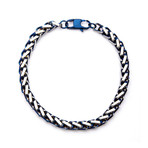 Steel Rounded Franco Chain Bracelet // Blue