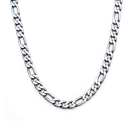 Steel Figaro Chain Necklace // Blue