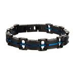 Carbon Fiber + Plated ID Link Bracelet // Black + Blue